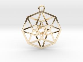 4D Hypercube (Tesseract) small in 14K Yellow Gold