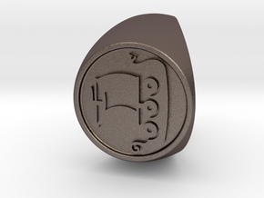 Custom Signet Ring 56 Size 9.5 in Polished Bronzed-Silver Steel