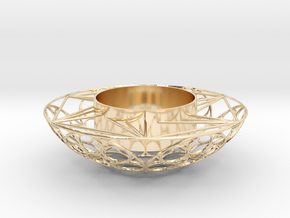 Round Tealight Holder in 14k Gold Plated Brass