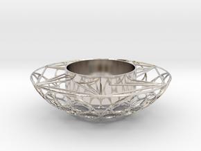 Round Tealight Holder in Rhodium Plated Brass