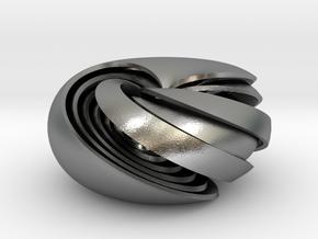 pendant 6 toroidal geodesic shells interlocked in Natural Silver (Interlocking Parts)