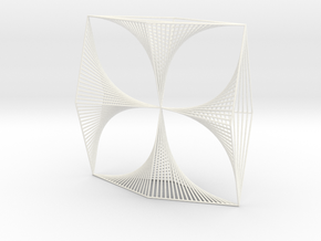 Shape Wired Parabolic Curve Art  Clover Square BV1 in White Processed Versatile Plastic