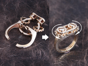Gear Spinning Ring in Polished Bronze (Interlocking Parts): 10 / 61.5