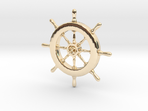 Pirate Ship Wheel Pendant in 14k Gold Plated Brass