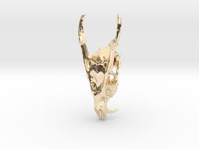 Muntjac Skull Pendant in 14k Gold Plated Brass