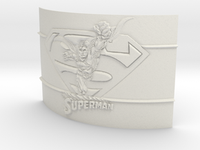 Superman Curved Lithophane in White Natural Versatile Plastic