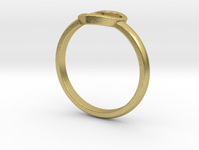 Simple open heart ring in Natural Brass