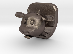 Mounted Cow Head in Polished Bronzed-Silver Steel