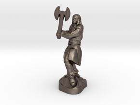 Human Blood Hunter with Battle axe in Polished Bronzed-Silver Steel