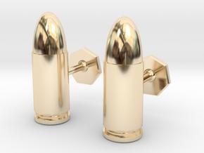 9mm Cartridge Cufflinks in 14K Yellow Gold
