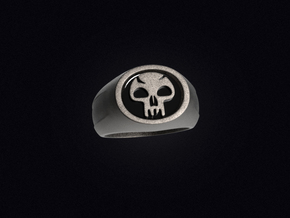 Black Mana Ring in Polished Bronzed Silver Steel