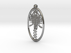 Faces Pendant  in Fine Detail Polished Silver