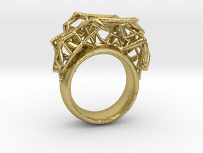 Cell Ring in Natural Brass