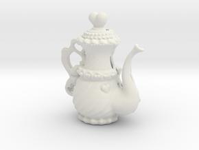 Elegant Ms Hearts Tea Pot in White Natural Versatile Plastic