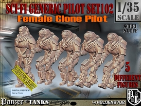1/35 Sci-Fi Generic Female Pilot Set102 in Smooth Fine Detail Plastic