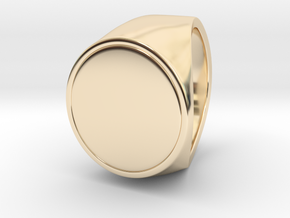 Signe  -  Unique US 9 Small Band Signet Ring in 14k Gold Plated Brass