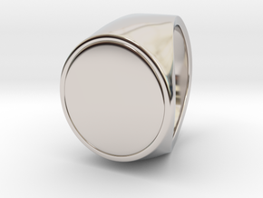 Signe  -  Unique US 9 Small Band Signet Ring in Rhodium Plated Brass