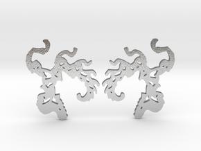 Phoenix Fractal earrings in Natural Silver