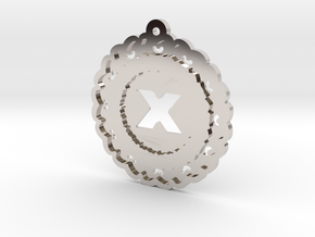 Magic Letter X Pendant in Rhodium Plated Brass