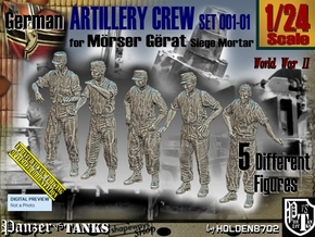 1/24 German Artillery Crew Set001-01 in White Natural Versatile Plastic