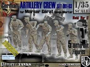 1/35 German Artillery Crew Set001-03 in Smooth Fine Detail Plastic
