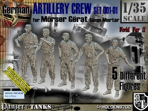 1/35 German Artillery Crew Set001-01 in Smooth Fine Detail Plastic