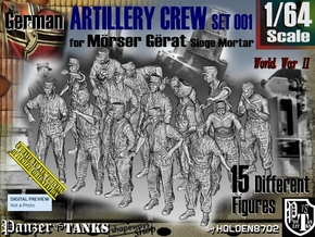 1/64 German Arty Crew Set001 in Smooth Fine Detail Plastic