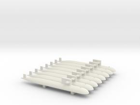 PLA[N] 093 Submarine x 8, 1/1800 in White Natural Versatile Plastic