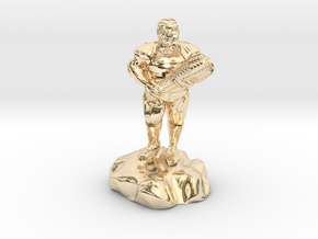hill dwarf with greatclub in 14k Gold Plated Brass