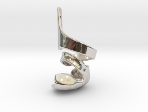 DTKAFO charm with foot piece in Rhodium Plated Brass: 6mm