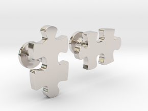 puzzle piece cufflinks in Rhodium Plated Brass