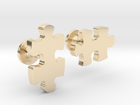 puzzle piece cufflinks in 14k Gold Plated Brass