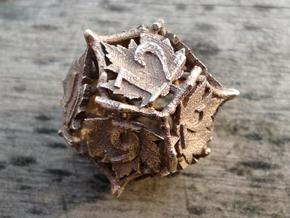 Botanical d12 (Maple) in Polished Bronzed Silver Steel