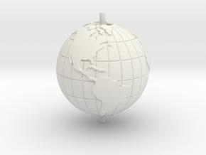 "World 1.25"" (Globe) in White Natural Versatile Plastic"