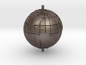 "World 1.25"" (Globe) in Polished Bronzed-Silver Steel"