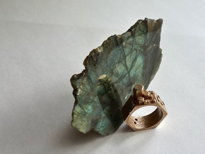 Hex Crystal Ring in Polished Bronzed-Silver Steel
