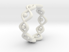 Woven Ring Size 12 in White Natural Versatile Plastic