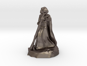 Dragonborn Sorcerer in Robes with Staff in Polished Bronzed-Silver Steel