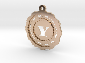 Magic Letter Y Pendant in 14k Rose Gold Plated Brass