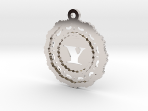 Magic Letter Y Pendant in Rhodium Plated Brass