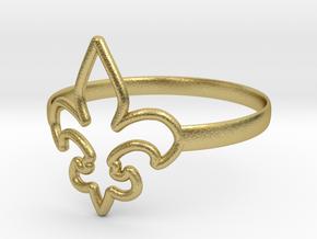 Fleur de Lille (Fleur-de-lis) Ring (variant 1) in Natural Brass