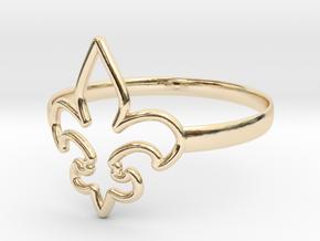 Fleur de Lille (Fleur-de-lis) Ring (variant 1) in 14K Yellow Gold
