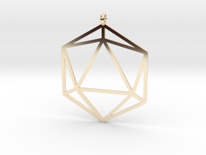 D20 Pendant in 14k Gold Plated Brass