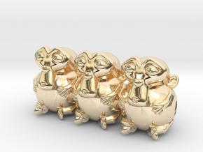Triple Monkey Colored in 14k Gold Plated Brass