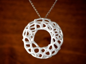 Organic Circle Pendant in White Processed Versatile Plastic