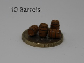 N Scale 10 Wooden Barrels in Smooth Fine Detail Plastic