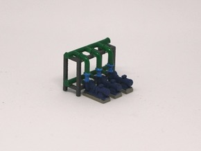 N Scale Pump Section 3 Pumps in Smooth Fine Detail Plastic