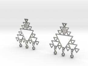 Fractal Earrings in Natural Silver (Interlocking Parts)