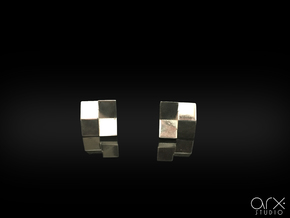 Chequered Earrings in Polished Silver: Small