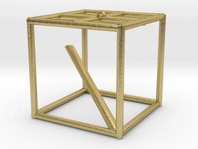cube in Natural Brass